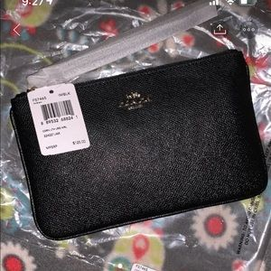 Coach large black wristlet